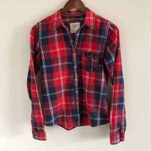 Abercrombie & Fitch Red Blue Plaid Button Down S